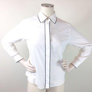 4/$25 Talbots Petites Vintage White Button Blouse